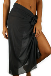 Solid Charcoal pareo swimwear cover-up.