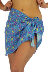 Tan thorugh sarong in blue Bubbles print.
