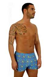 9 inch bike short for men in blue Bubbles print.
