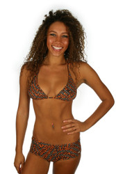 Boy short bikini with string top in brown Jaguar print.