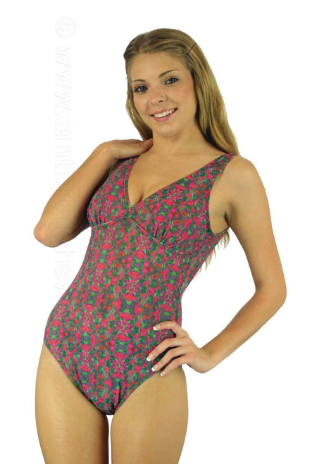 V-neck structured top tan through swimsuit in Kaleidoscope print.
