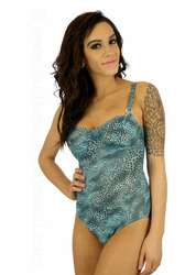 Adjustable strap underwire tank in blue Jungle Heat print.