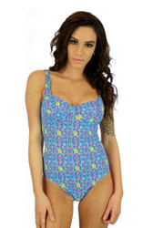C-D cup underwire tank in blue Bubbles print.