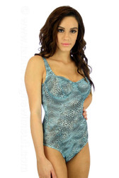 C-D cup underwire tank swimsuit in blue Jungle Heat print on model Nicole.