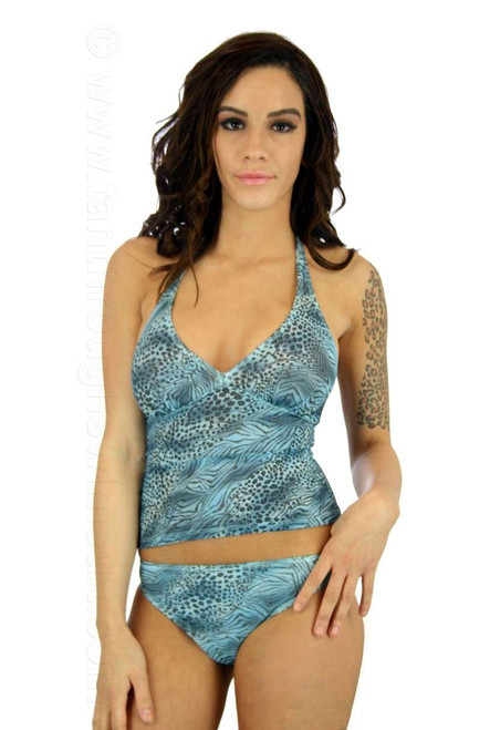 Tankini top in blue Jungle Heat print on Nicole.