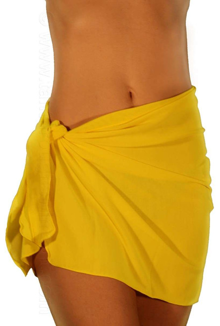 Solid yellow swimsuit sarong.