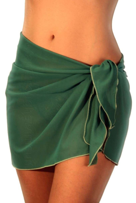 Solid green tan through swimsuit coverup.