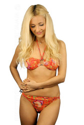 Art Nouveau bandeau bikini set in orange.