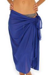 Front view of tan through royal blue pareo swimsuit coverup.