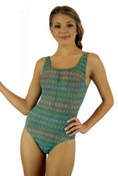 Green--Forever print on tanthrough traditional tank swimwear.