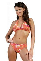 Tan through halter bikini set in Art Nouveau print.