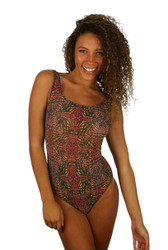 Tan through traditional tank womens swimwear in pink Safari print.