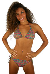 Jordan models double tie string bottom in pink Toucan print.