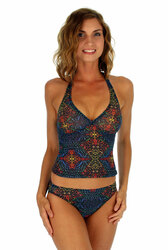 High waist bikini bottom on Cameo with multicolor Safari print.