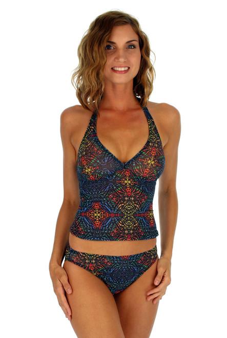 High waist bikini bottom on Cameo with multicolor Safari print.