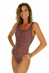 Green Hibiscus tan through traditional tank womens swimsuit.