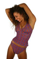 Tan through high waisted bikini separates bottom in blue Hibiscus.