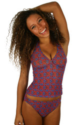 Tan through tankini top in blue Hibiscus print.