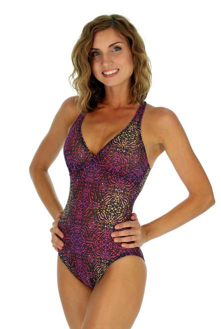 Criss cross strap structured cup womens swimwear in purple Safari.