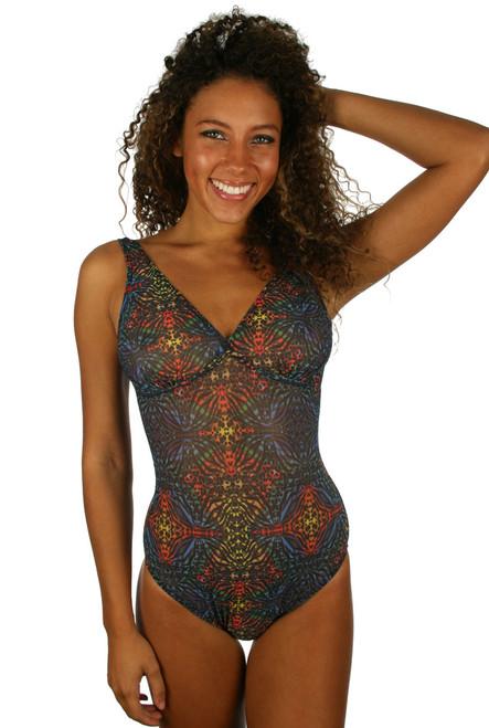 Structured cup women's swimwear in multicolor Safari print.