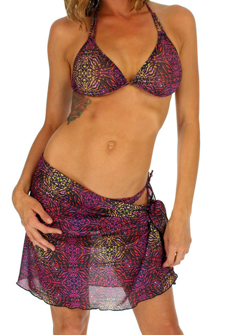 Purple Safari sarong from Lifestyles Direct Tan Through Swimwear.