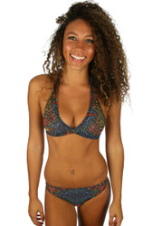 Multicolor Safari scrunch butt bikini bottom from Lifestyles Direct Tan Through Swimwear.
