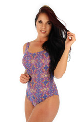 Purple Carnival print on tan through traditional tank women's swimsuit