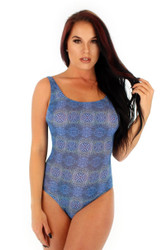 Front view of tan through traditional tank from Lifestyles Direct in blue Serpent.