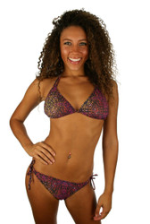 Tan through string bikini top in purple Safari.