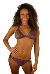 Tan through string bikini bottom in purple Safari.