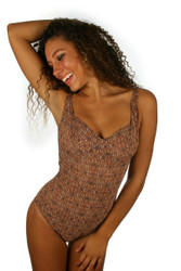 Tan through CD underwire cup swimsuit from Lifestyles Direct in brown Caged print.