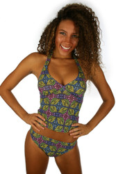 Green Heat tankini bikini top from Lifestyles Direct tan through swimsuits.