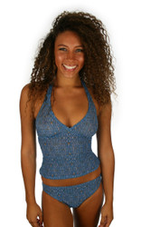 Tan through tankini bikini top in blue Caged print from Lifestyles Direct.