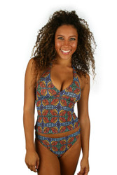 High waist bikini bottom with orange Heat print from Lifestyles Direct Tan Through Swimwear.