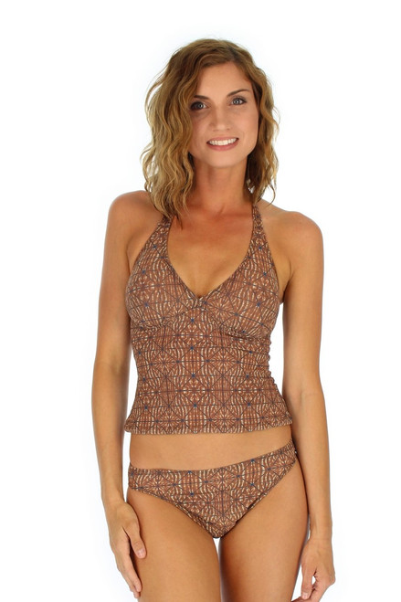 Brown Caged tan through bikini bottom with high waist.