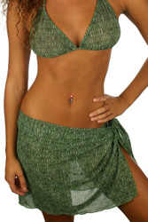 Green Caged short swimsuit coverup from Lifestyles Direct Tan Through Swimwear.