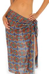 Orange Heat swimwear coverup pareo from Lifestyles Direct in tan through fabric.