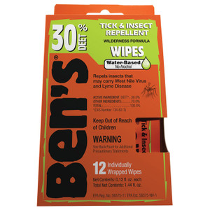 BEN'S WIPES 30% DEET 12 PK