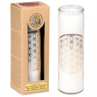 Flower of Life  candle in Glass Holder – White (112987)