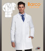 """Barco White 37"""" Men's 6 Pocket Labcoat with Four Patch Pockets"""