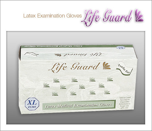 LIFE GUARD Examination Latex Gloves - Powder Free - 100 Gloves / Box