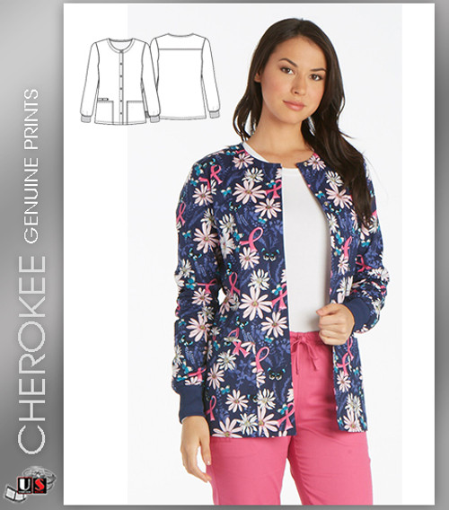 Cherokee Printed Women's Snap Front Warm-Up Jacket in Flight For The Cure