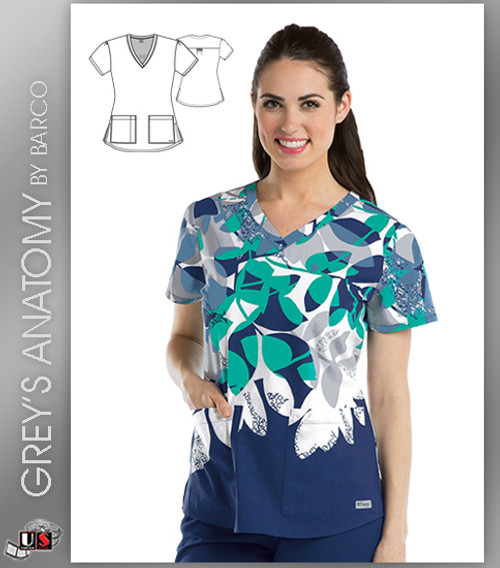 Grey's Anatomy™ Women's V-Neck Print Scrub Top -  Exquisite
