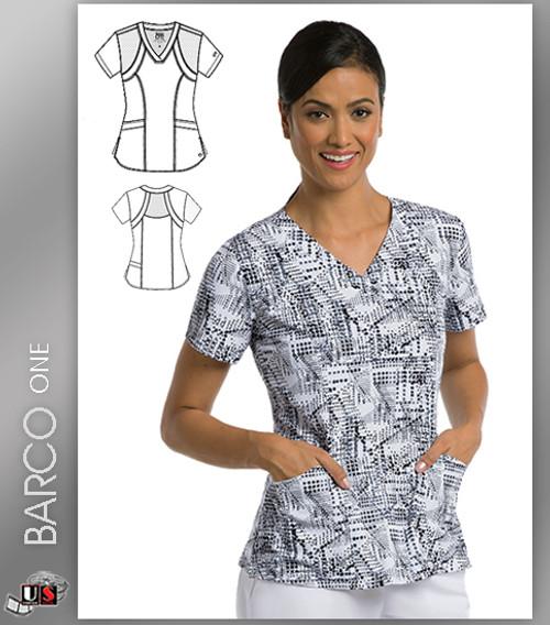 Barco One Accelerate Print V-Neck Scrub Top