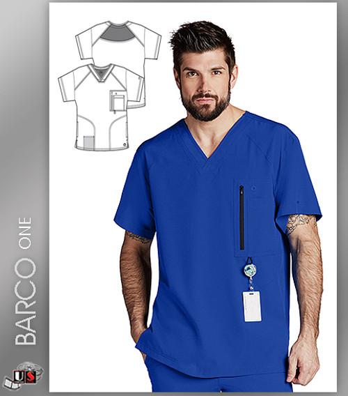 Barco One™ Men's V-Neck Zip 4 Pocket Solid Scrub Top