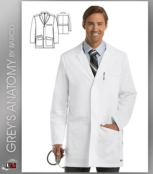 "Grey's Anatomy Men's 35"" 6 Pocket Lab Coat"