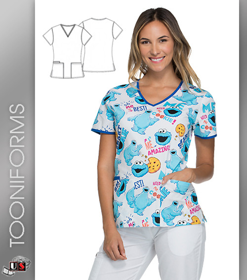 Cherokee Tooniforms Born to Be Grouchy Women's V-Neck Top