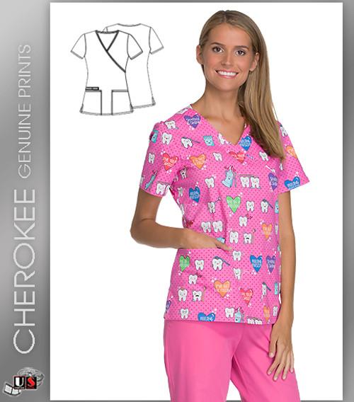 Cherokee Printed I've Got The Fillin' Women's Mock Wrap Short Sleeve Top