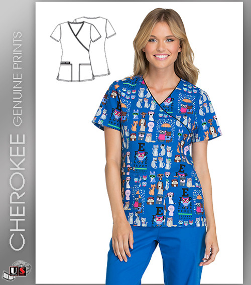 Cherokee Printed Howl About Those Glasses Mock Wrap Short Sleeve Top