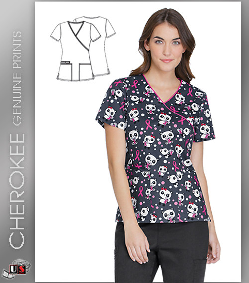 Cherokee Printed Beary Caring Women's Mock Wrap Short Sleeve Top